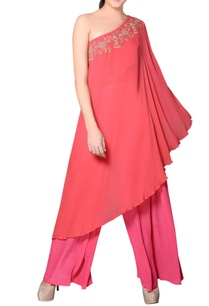 coral-pink-embroidered-kurta-with-pink-pants