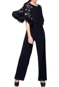 black-embroidered-cape-jumpsuit
