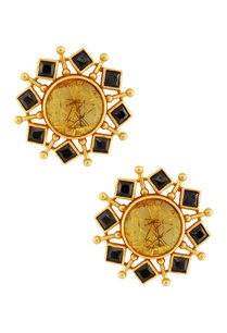 gold-black-circular-earrings