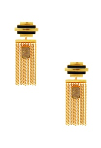 gold-black-striped-earrings-with-chain