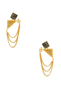 black-gold-stone-earrings-with-chains