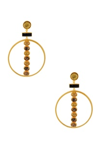 gold-black-highlighted-stone-earrings-with-a-circular-piece