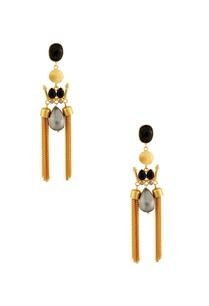 gold-black-earrings-with-grey-stone