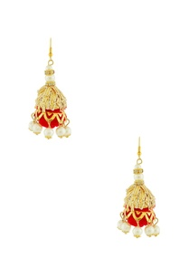 gold-finish-jhumkas-with-red-pom-pom