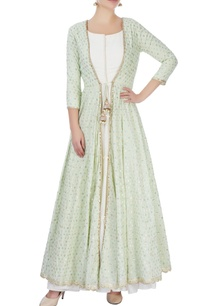 ivory-maxi-dress-with-mint-green-jacket