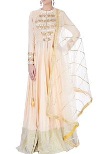 peach-anarkali-set-with-gota-patti-work