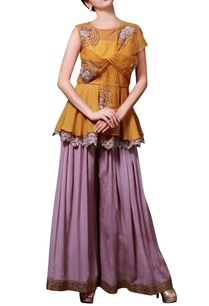 yellow-lilac-embellished-pant-set