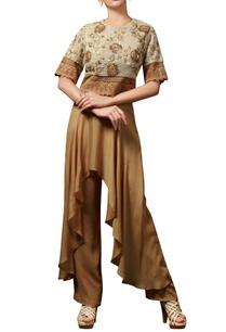brown-embellished-pant-set