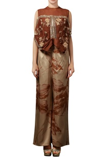 cinnamon-brown-printed-pant-set