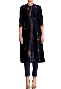 navy-blue-screen-printed-kurta-set