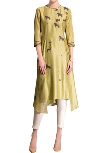 fern-green-asymmetric-kurta