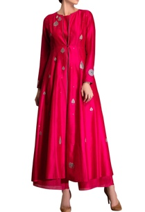 fuchsia-pink-applique-kurta-set
