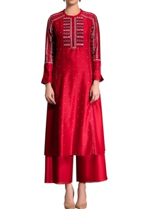 red-embroidered-kurta-set