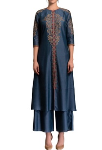 smokey-blue-embroidered-kurta-set