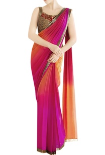 orange-fuschia-shaded-sari-with-embroidery