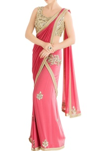 coral-pink-sari-with-embellished-blouse