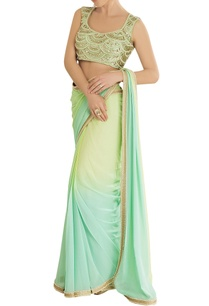 aqua-yellow-shaded-sari-with-embroidered-blouse