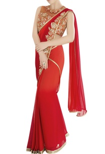 red-sari-with-floral-embroidery