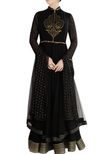 black-layered-anarkali-set-with-patchwork