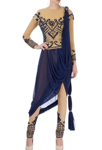 beige-navy-blue-dhoti-sari-with-embroidery