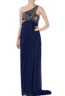 navy-blue-embroidered-one-shoulder-dress