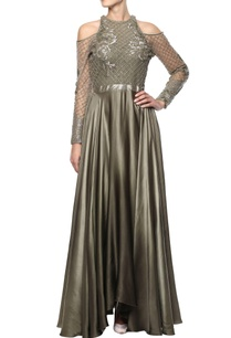 olive-green-embellished-gown