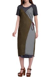 grey-military-green-color-block-wrap-dress