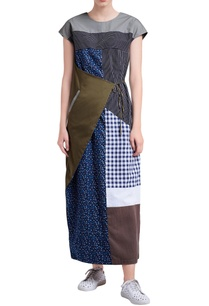 multicolored-patchwork-front-knot-dress