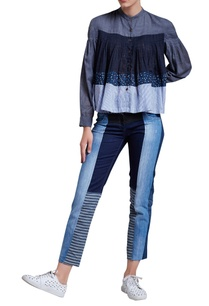 blue-pleated-shirt-with-patchwork-panels