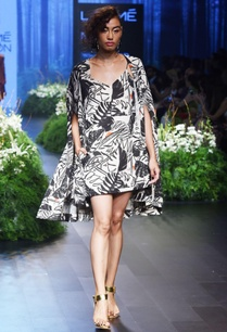 blue-leaf-printed-dress-with-cape