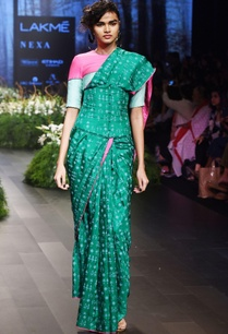 green-pink-sari-with-tribal-art