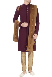 burgundy-hand-embroidered-sherwani-set
