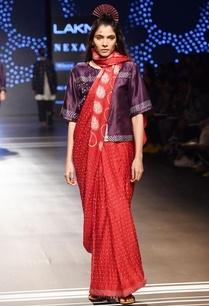 red-shibori-bandhani-sari