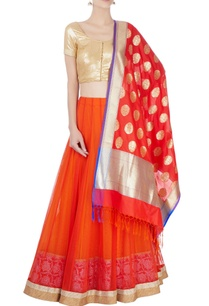 orange-lehenga-set-with-motif-pattern