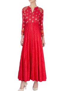 red-long-kurta-with-embroidery