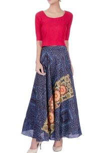 red-top-with-multi-colored-printed-skirt