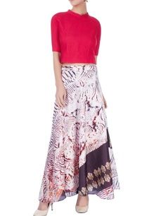 multi-colored-printed-skirt-set-with-red-top