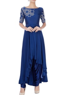 royal-blue-asymmetric-kurta-dhoti-pants