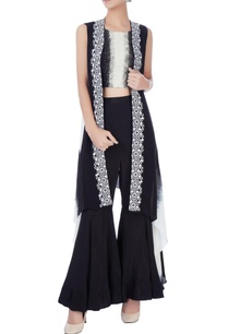black-white-crop-top-sharara-cape