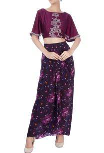 black-dhoti-skirt-wine-crop-top