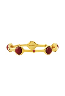 gold-plated-bangle-with-maroon-studs