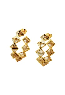 gold-plated-hoop-earrings-with-resin-pyramids