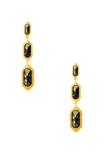 gold-plated-drop-earrings-with-black-studs