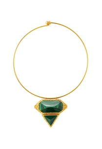 gold-plated-choker-necklace-with-green-studs