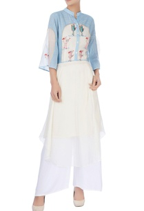 white-blue-striped-kurta-with-birds