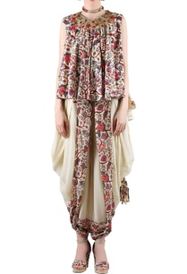 beige-printed-top-with-dhoti-pants-featuring-gathers-at-the-adorned