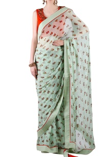 sage-green-printed-sari-with-orange-blouse