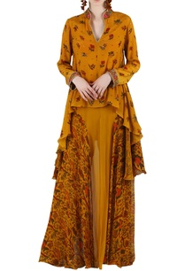 mustard-yellow-printed-embellished-skirt-set