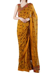 mustard-yellow-embellished-sari-with-print