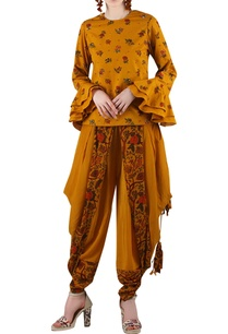 mustard-yellow-printed-pant-set